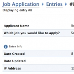 4. Display of the Applicant Entry